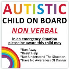 Autistic Child On Board (Non Verbal) Warning Safety Car Sticker